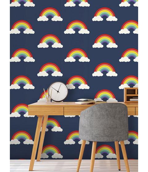 Rainbow Wallpaper Navy Blue Feature wall Belgravia 9990