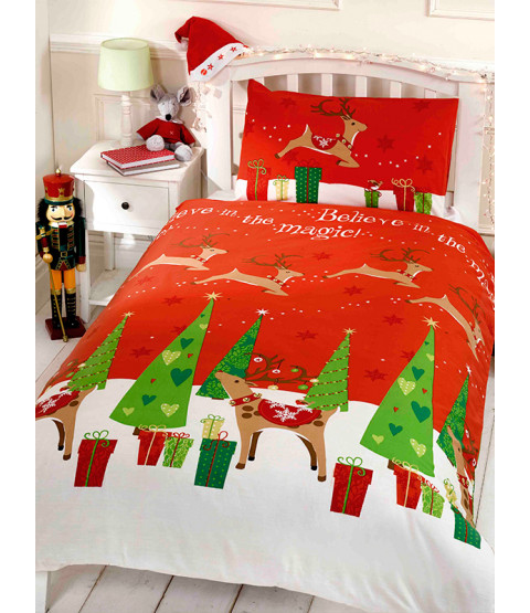 Believe Christmas Double Duvet Cover and Pillowcase Set