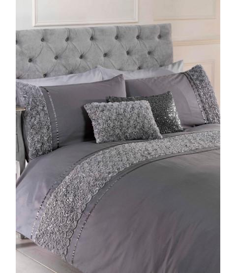 Limoges Rose Ruffle Grey Super King Duvet Cover and Pillowcase Set