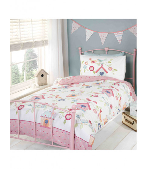 Bird House Single Reversible Duvet Cover and Pillowcase Set