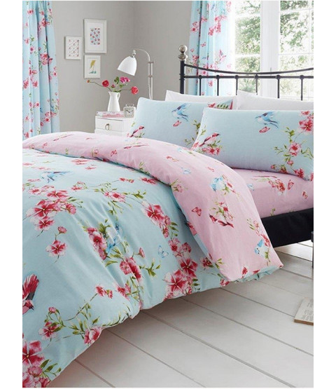 Birdie Blossom Floral Single Duvet Cover and Pillowcase Set - Blue