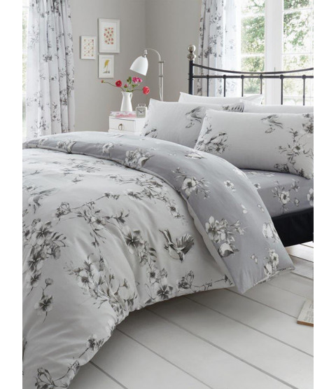 Birdie Blossom Floral Double Duvet Cover and Pillowcase Set - Grey