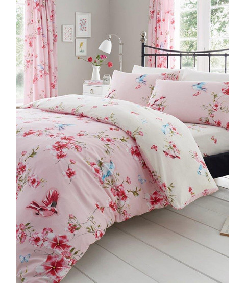 Birdie Blossom Floral Single Duvet Cover and Pillowcase Set - Pink