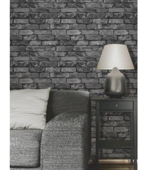 black grey brick effect wallpaper fine decor. Black Bedroom Furniture Sets. Home Design Ideas