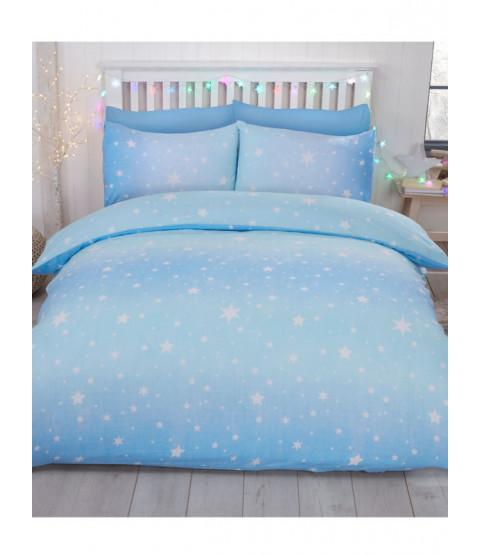 Starburst Brushed Cotton Single Duvet Cover Set - Ice Blue