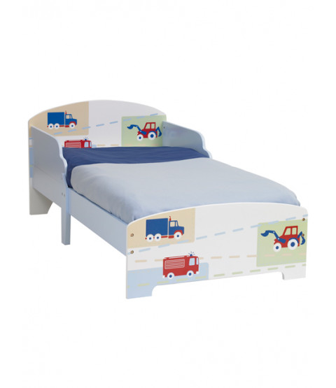 Boys Vehicle Junior MDF Toddler Bed and Fully Sprung Mattress