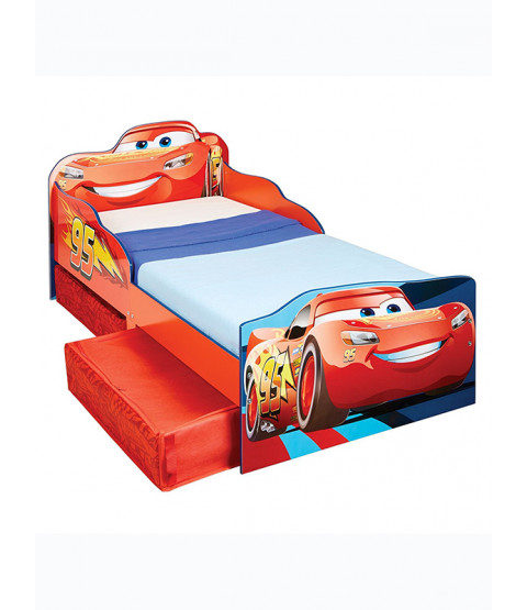 Lightning McQueen Toddler Bed with Storage and Foam Mattress