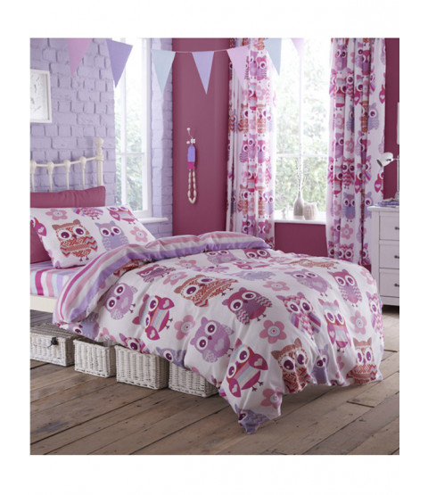 Catherine Lansfield Owl Single Duvet Cover & Pillowcase Set