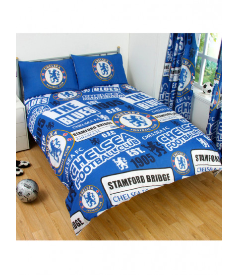 Chelsea FC Patch Double Duvet Cover and Pillowcase Set