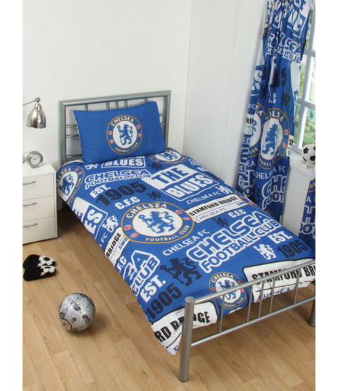 Chelsea FC Patch Single Duvet Cover and Pillowcase Set