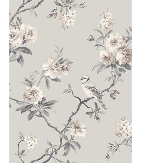 Chinoiserie Bird Wallpaper - Grey - FD40764