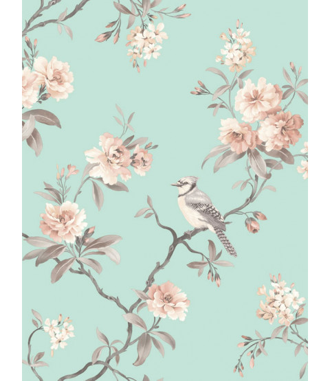 Chinoiserie Bird Wallpaper - Teal - FD40768