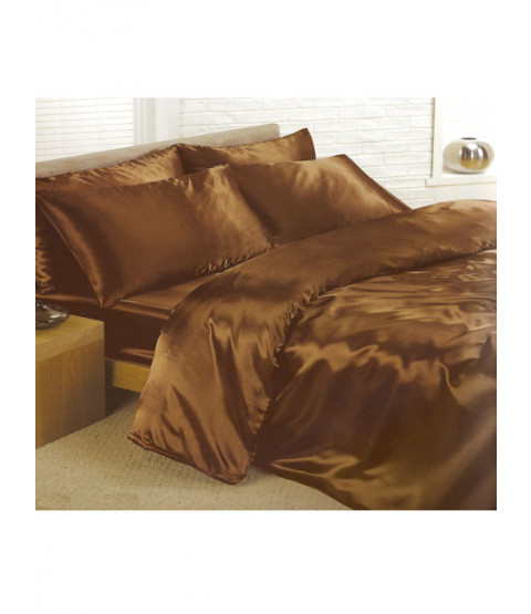 Chocolate Satin Super King Duvet Cover, Fitted Sheet and 4 Pillowcases Bedding Set