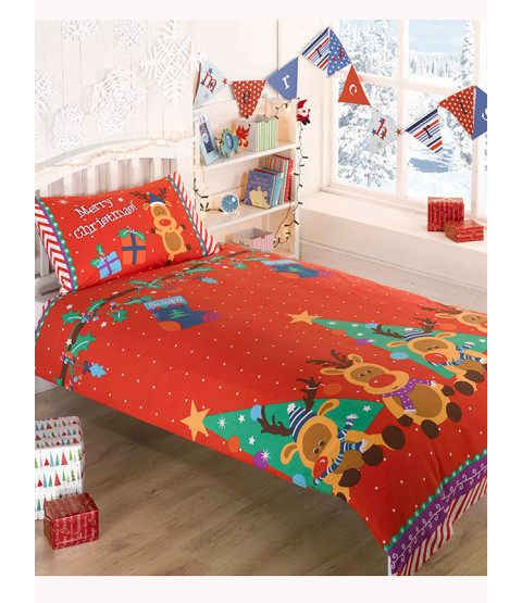 Christmas Reindeer Double Duvet Cover and Pillowcase Set