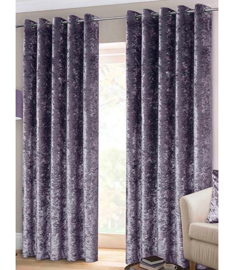 Belle Maison Lined Eyelet Curtains - Crushed Velvet Range, Amethyst