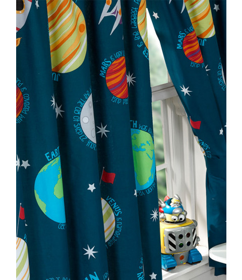 Solar System Planets & Space Lined Curtains 72in x 66in