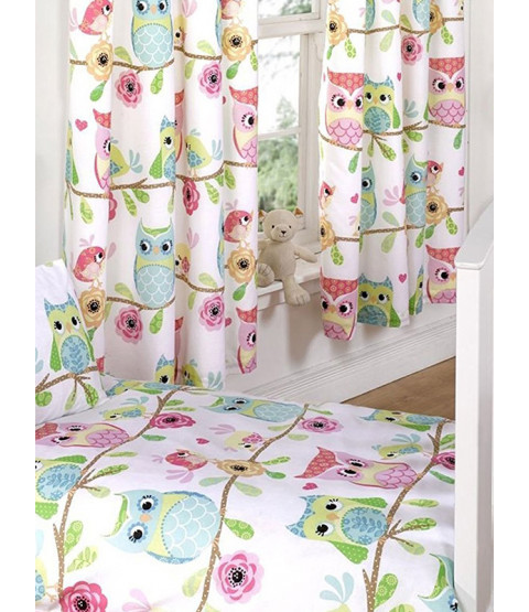 "Owl and Friends Lined Curtains 72"" Drop"
