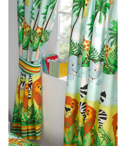 "Jungle-Tastic Lined Curtains 72"" Drop"