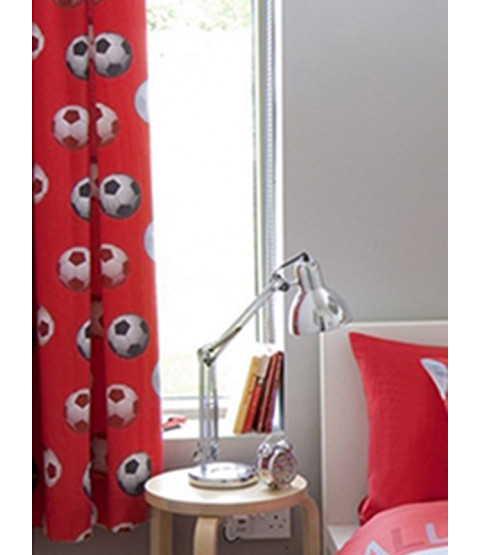 Catherine Lansfield Lined Football Curtains - Red