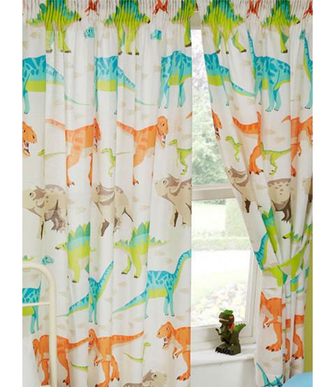 "Dinosaur World Lined Curtains 72"" Drop"