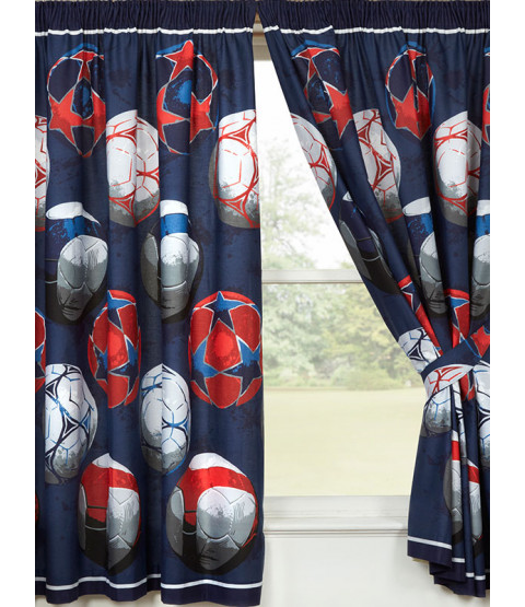 """Blue Football Themed Lined Curtains 72"""" Drop"""