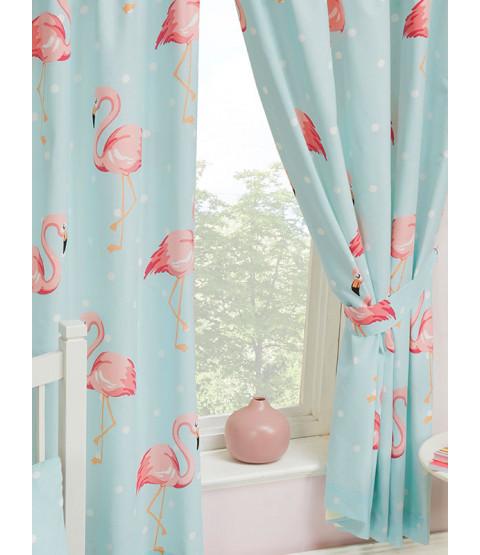 "Fifi Flamingo Lined Curtains 54"" Drop"
