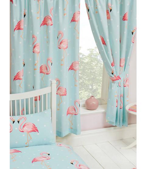 Fifi Flamingo Lined Curtains