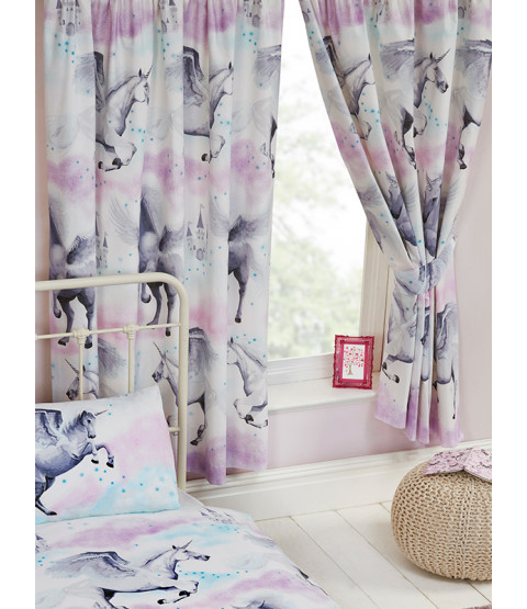 Stardust Unicorn Lined Curtains - Purple and Teal