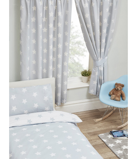 "Grey and White Stars Lined Curtains 54"" Drop"