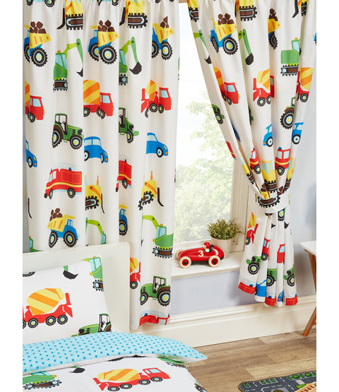 "Trucks and Transport Lined Curtains 72"" Drop"