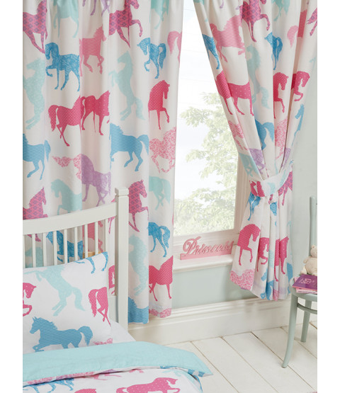 """Patchwork Ponies Lined Curtains 54"""" Drop"""