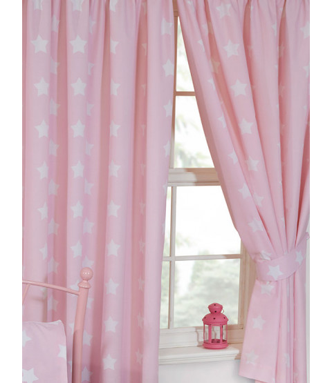 "Pink and White Stars Lined Curtains 72"" Drop"