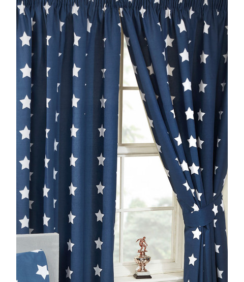 """Navy Blue and White Stars Lined Curtains 72"""" Drop"""
