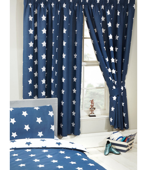 Navy Blue and White Stars Curtains Bedroom 168cm x 137cm