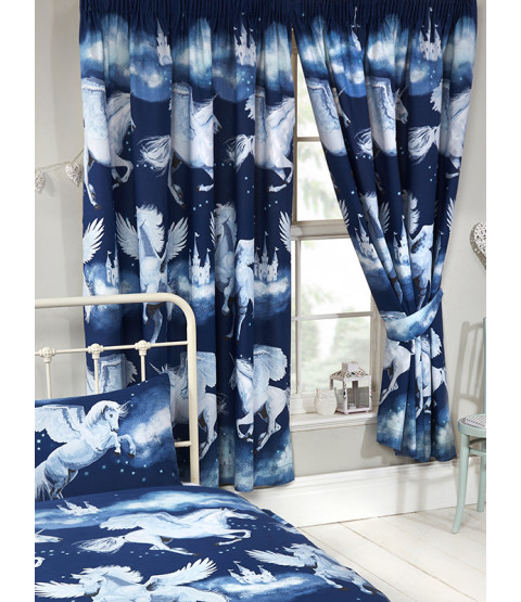 Stardust Unicorn Lined Curtains - Navy Blue