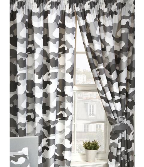 """Rideaux doublés camouflage gris armée 54 """"Drop"""