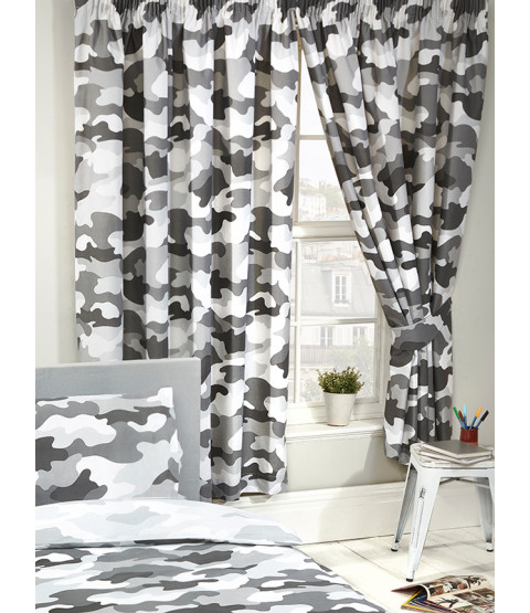 Grey Army Camouflage Lined Curtains 66 in x 54 in