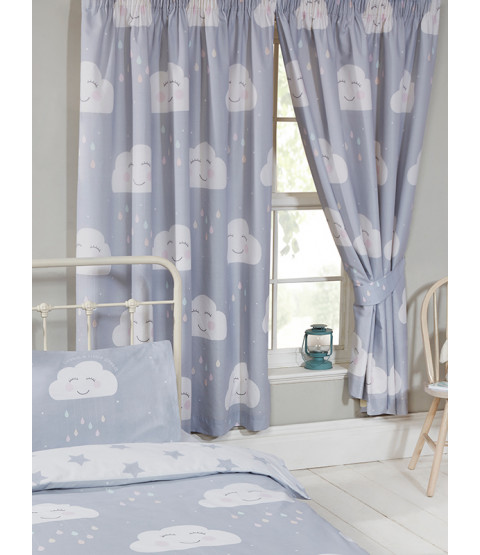 Happy Clouds Lined Curtains 66in wide x 54in drop