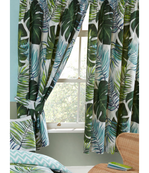 """Tropical Palm Leaves Lined Curtains 66"""" x 54"""""""