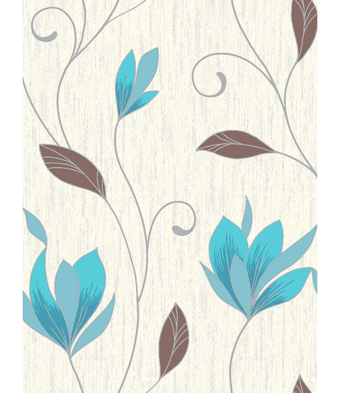 Synergy Floral Glitter Wallpaper Teal Vymura M0779