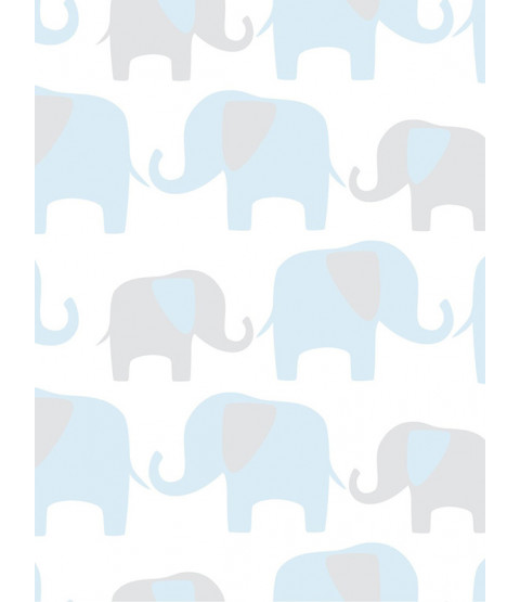 NuWallpaper Elephant Parade Peel and Stick fondo de pantalla - Azul NU1404