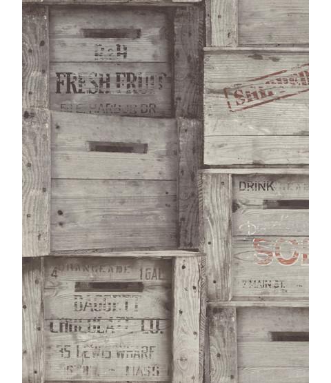 Fine Decor Wood Crates Wallpaper - Grey FD40944