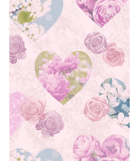 Floral Hearts Wallpaper - Lilac - Fine Decor FD41913