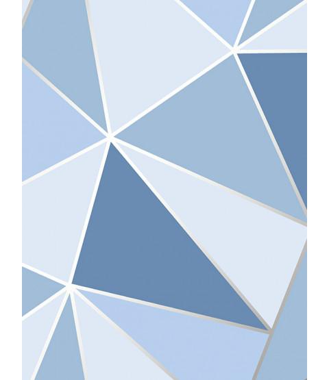 Papel Pintado Geométrico Apex Azul Decoración Fina FD41992
