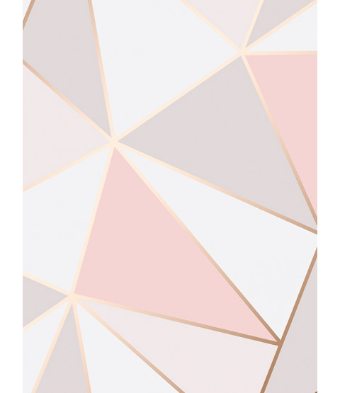 Apex Geometric Wallpaper Rose Gold Fine Decor FD41993