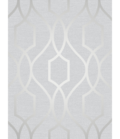 Stone and Silver Geometric Trellis Wallpaper Apex Fine Decor FD41995