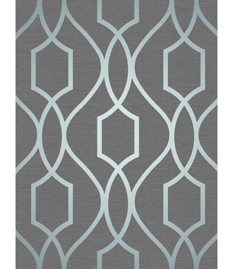 Papel pintado enrejado geométrico Apex gris pizarra y azul Decoración fina FD41996