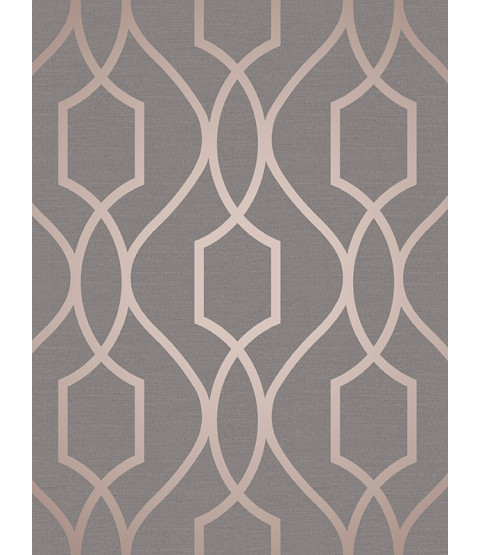 Geometric Wallpaper Charcoal Grey and Copper Fine Decor Apex Trellis FD41998