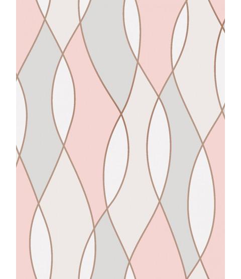Apex Wave Geometric Wallpaper Rose Gold Fine Decor FD42172