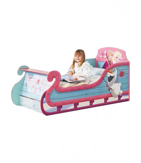 Frozen Sleigh Toddler Bed with Underbed Storage and Foam Mattress
